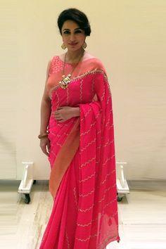 Anita Dongre Hot Pink Embroidered #Saree.