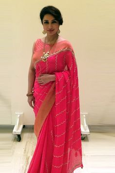 Anita Dongre Hot Pink Embroidered #Saree.