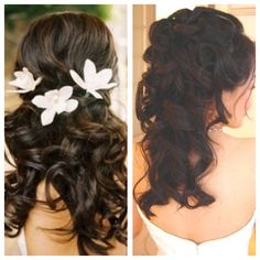 Simple half up-do with curls - one on left side is good