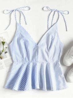 Product Contrast Striped Panel Peplum Cami Top available for Zaful WW, get it now ! Camo Tank Tops, Loose Tank Tops, Best Tank Tops, White Cami Tops, Black Tank Tops, Mini Vestidos, Cute Tops, Trendy Fashion, Ideias Fashion