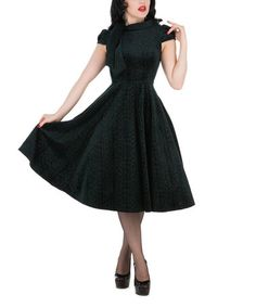 Look what I found on #zulily! Green Neck Tie-Accent A-Line Dress - Plus Too #zulilyfinds