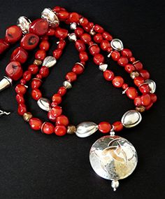 36mm Sterling and Copper 2-Sided Pendant with Handcrafted Beads, Coral & Sterling