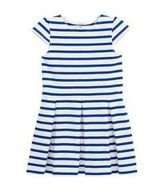 Abito marinière bambina in jersey strutturato bianco Lait / blu Surf - Petit Bateau