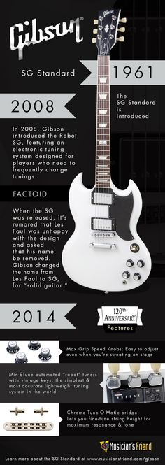 Love the Gibson SG Standard? Check out this infographic highlighting its evolution starting from Sg Guitar, Guitar Tips, Music Guitar, Playing Guitar, Learning Guitar, Gibson Sg Standard, Gibson Les Paul, Classical Guitar Lessons, Les Paul Guitars
