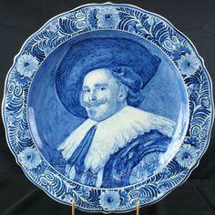 blue white delft | Vintage Blue/White Delft Plate, Laughing Cavalier, 1950s Holland, Fine ...