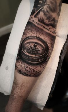 New compass tattoo added to my sleeve. #compass #tattoo #blackandgrey