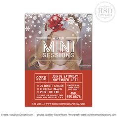 Christmas Mini Sessions, Christmas Mini Session Template, Marketing – Photoshop Templates for Photographers, Photography Marketing Templates, Photo Card Templates, Album Templates & more! – Hazy Skies Designs