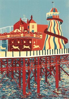 The End of the Pier (Brighton) linocut print in edition of 24 by Jennie Ing. Linocut Prints, Art Prints, Linoprint, Wood Engraving, Woodblock Print, Vintage Posters, Posters Uk, Printmaking, Illustrators