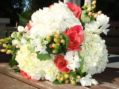 Bridesmaid bouquet - Pink roses, berries, hydrangea, freesia and stock