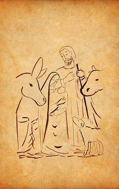 Line drawing of nativity Christmas Drawing, Christmas Paintings, Art Studio Design, Christmas Wall Hangings, Christmas Nativity Scene, Jesus Art, Holy Family, Sacred Art, Bible Art