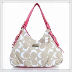 #coach #purses Please Enjoy Our High-Quality Coach Fashion Signature Medium Pink Ivory Shoulder Bags ERF With A Big Discount.