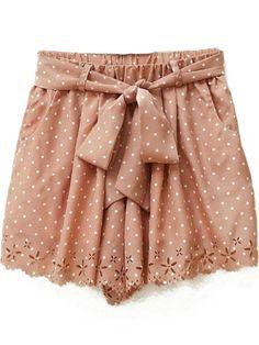 Pink Polka Dot Print Cut Out Hem Chiffon Shorts - Fashion Clothing, Latest Street Fashion At Abaday.com