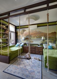 Contemporary kids bedroom... green & brown #contemporary #kidsroom #green #afflink #bedroomgoals