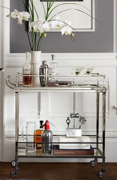 Love bar carts...like in old movies...classy!