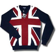 New Lambretta Fine Gauge Cotton Union Jack Flag V Neck Jumper