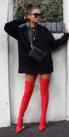 red and black fashion trends / hoodie + bag + over the knee boots