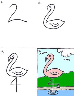 How to draw a flamingo for kids flamingo craft, directed drawing, art party, Drawing Lessons, Drawing Techniques, Art Lessons, Easy Drawings For Kids, Drawing For Kids, Art For Kids, Drawing Ideas, Simple Animal Drawings, Doodle Drawings