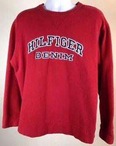 Vintage 90s Tommy Hilfiger Big Block Spellout Logo Flag Sweatshirt Hip Hop XL | eBay