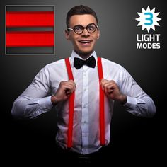 Light Up Red Suspenders with Red LEDs - Light Up Red Suspenders with Red LEDs