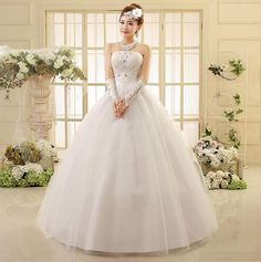 Pure Design Strapless Princess Wedding Dresses Beading Applique Laceup Wedding Dress HS550 Without Gloves, Accessories Princess Wedding Dress Sexy Wedding ...