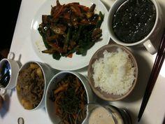 【7/7・夕飯】麻婆茄子、肉じゃが、きんぴらごぼう、わかめスープ