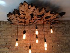 Create a Custom Large Live Edge Slab Light Fixture with Hanging Edison bulbs Fabric Wire. Rustic Industrial Chandelier Check description