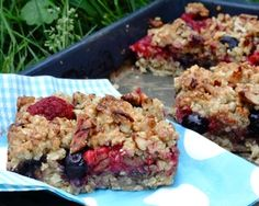 summer berry flapjacks  substitutions: almond meal for flour, coconut oil for butter