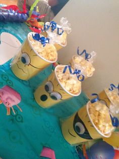 Minions popcorn cups Minion Theme, Minion Birthday, 2nd Birthday Parties, 7th Birthday, Birthday Ideas, Minion Candy, Despicable Me Party, Girl Minion, Party Themes