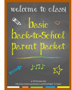 $ Welcome parents to your classroom, discipline plan, homework and grading policies, class jobs, supply list, and more with this editable packet of 12 templates with sample wording and content ideas. This back-to-school packet works well for upper elementary and middle school classrooms. Simple and appealing black-and-white design. Just customize, print, and assemble.