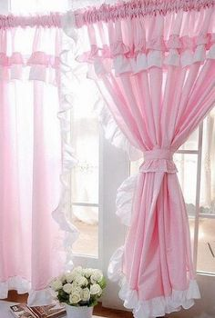 Vintage Pink Curtains | Shabby and Vintage Style Pink Gingham Ruffle Curtain Drape 2pc Set by ...