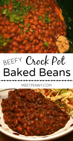 Delicious! Crock pot baked beans with ground beef. This could be a meal or a side dish. Packed with protein and a little kick. Great for a potluck or picnic too.