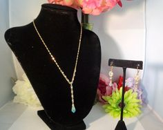 """20% off use 090516!  Vintage Givenchy Jewelry Set with an AB Crystal Pendant on a 17.5"""" Necklace & Matching Drop AB Crystal Earrings 1.75"""" The AB Crystals bounce colors off of them with what ever you are wearing. We are offering Free Shipping on all orders to the US plus 20% off with the Coupon Code for Labor Day. Just go to our store at  www.CCCsVintageJewelry.com"""