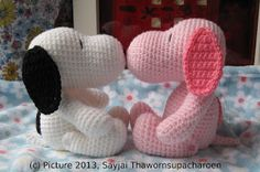 Pink Snoopy ~ Amigurumi crochet patterns ~ K and J Dolls / K and J Publishing