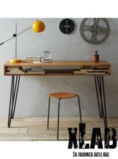 Tavolo scrivania legno e ferro vintage Style Xlab