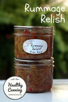 "Rummage relish. Rummage relish is an ""end of growing season"" product that draws on odds and ends of late summer vegetables found by ""rummaging"" in the garden. It's tomatoes (red and green), cabbage, celery, peppers, onion and cucumber, mixed with a wonderful fragrant, cinnamony spice base. Sugar and salt free, too! #canning"
