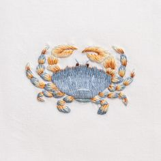 Crab BlueHand Towel - White Cotton – Henry Handwork