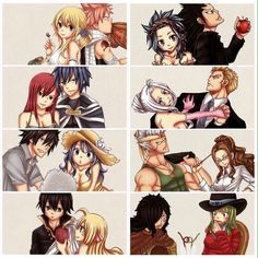 Fairy Tail Couples ❤️ *Side note* I don't ship mira and laxus mainly because there has been no development between them soooo yeah...