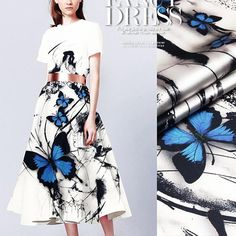 Blue Butterfly Print White Stretch Silk Satin Fabric By The