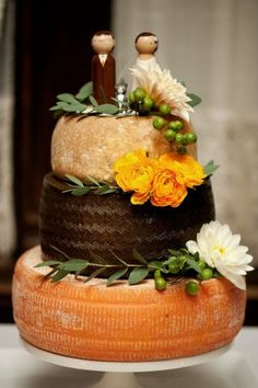 cheese wheel cake. Rebecca Shepherd Floral Design.