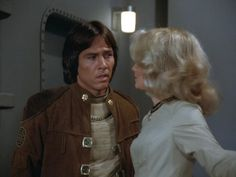 Apollo (Richard Hatch) and Cassiopeia (Laurette Spang) - Battlestar Galactica Fire in Space (First Aired December Hollywood Actor, Golden Age Of Hollywood, Kampfstern Galactica, Richard Hatch, Battlestar Galactica 1978, Lorne Greene, Space Shows, December 17, Iron Maiden