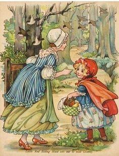 .vintage book illustration..... Little Red Riding Hood... illustrator?