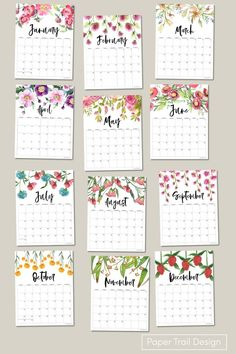 Use our floral 2022 printable monthly calendar for free. Print these DIY calendar pages for your planner. Calender Template, Free Printable Calendar Templates, Printable Planner Pages, Free Printables, Calendar 2017, Diy Calendar, Calendar Pages, Paper Trail, Nature Journal