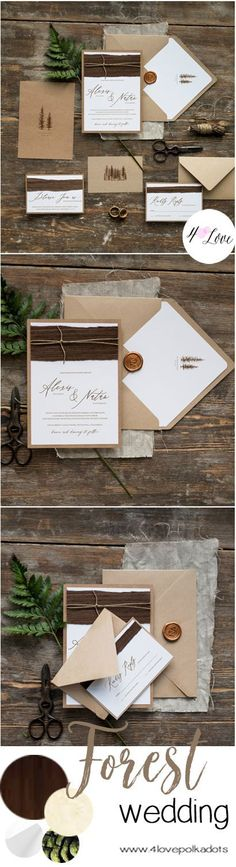 Forest wedding ideas . Completely handmade wedding invitations with natural wood and beautiful calligraphy printing #wedding