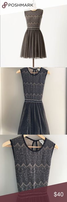 Anthropologie Dulcie dress Size M, by Weston Wear; knit lace patterned top with tulle skirt; attached belt/tie; the top shows some slight pre-piling; 50% of my sales goes to New Hope, a girls' school in the Dominican Republic. Anthropologie Dresses