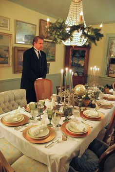 """Carson"" serving at Downton Abbey Themed Dinner Party - see post @ Mary Jo Cichaki!"