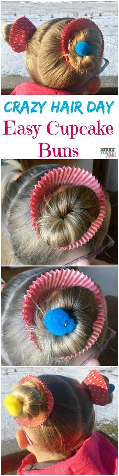 Crazy hair day ideas girls cupcake buns! These cupcake hair buns are quick and easy for crazy hair day at school!