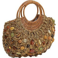 """New Cheap Bags. The location where building and construction meets style, beaded crochet is the act of using beads to decorate crocheted products. """"Crochet"""" is derived fro Crochet Tote, Crochet Handbags, Crochet Purses, Bead Crochet, Crochet Granny, Macrame Purse, Macrame Jewelry, Art Bag, Macrame Tutorial"""