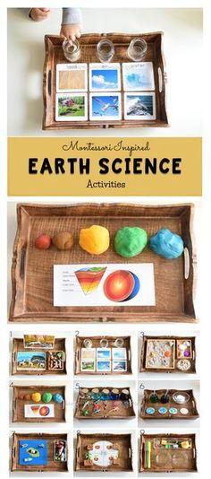 Earth Science for kids science kidsactivities activitytrays montessori earthday Kid Science, Earth Science Activities, Preschool Science, Science Lessons, Science Experiments, Baby Activities, Science For Children, Earth Science Projects, Science Labs