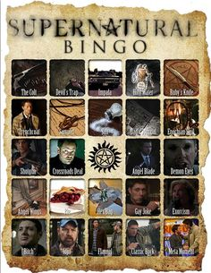 Supernatural | Community Post: 19 Awesome Bingo Cards To Play While Watching Your Favorite TV Shows