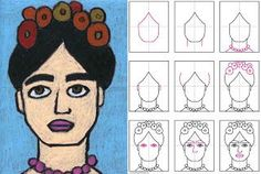 """Art Projects for Kids: How to Draw Frida Kahlo (face practice) - we did this project.  It was fun and interesting.  We read """"Getting to know Frida Kahlo"""" with it."""